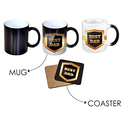 Buy Giftsmate Birthday Gifts For Father Best Dad Black Magic Mug Coaster Set Of 2 Online At Low Prices In India