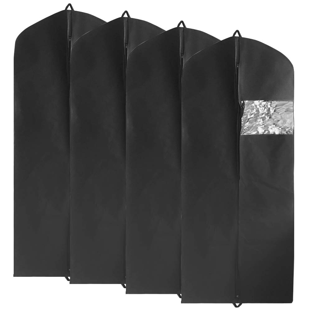 4 Pack Garment Bag Suit Bag with Two Handles for Storage and Travel, YuCool Extra Long Size 60 Breathable Bag Anti-Moth Protector, Washable Suit Cover fit for All Dresses, Suits, Coats