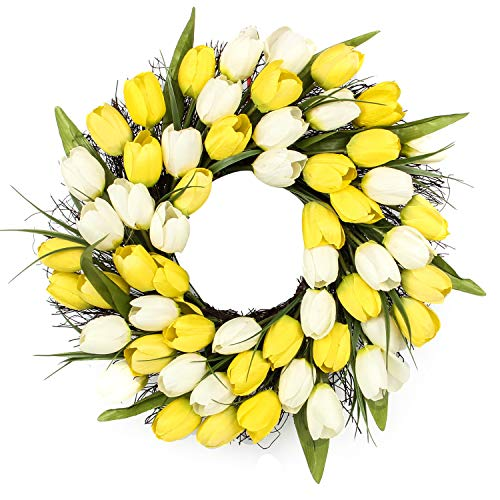 - Jusdreen 20 Inch Yellow and White Tulip Spring Artificial Front Door Wreath Home Décor for Window Wall Party Wedding Valentines Day Hanging Decorations