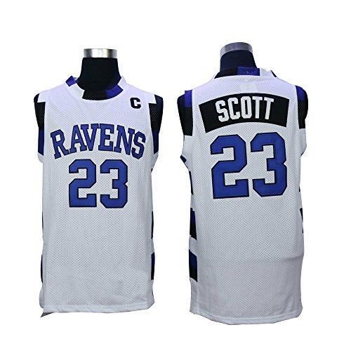 Stitched Nathan Scott 23 One Tree Hill Ravens Movie Basketball White Jersey (Small)