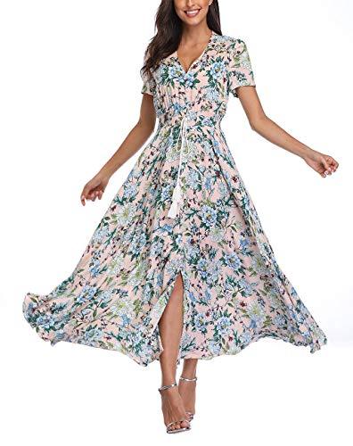 (V fashion Women's Floral Maxi Dress Button Up Split Summer Boho Long Beach Dress)