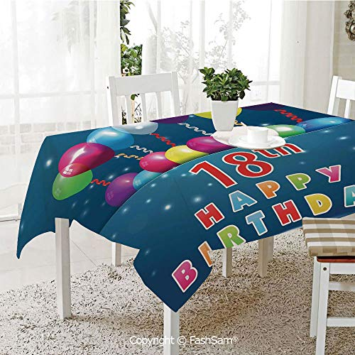 FashSam Tablecloths 3D Print Cover Party Time with Colorful Flying Balloons on Star Like Backdrop Party Home Kitchen Restaurant Decorations(W55 xL72) ()