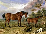 Village animals horses dogs by James Ward Tile Mural Kitchen Bathroom Wall Backsplash Behind Stove Range Sink Splashback 4x3 4'' Marble, Matte