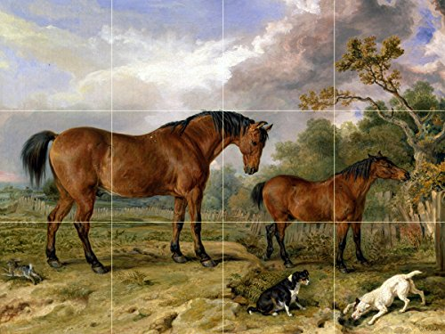 Village animals horses dogs by James Ward Tile Mural Kitchen Bathroom Wall Backsplash Behind Stove Range Sink Splashback 4x3 4'' Marble, Matte by FlekmanArt