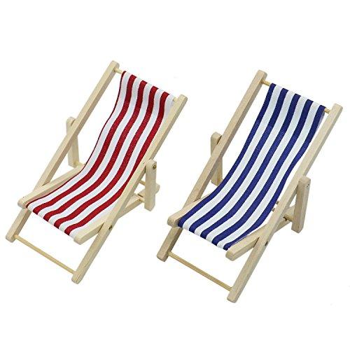 HUELE 2PCS Mini Dolls House Miniature Wooden Folding Beach Sunbath Chair Dollhouse Furniture Accessories 1:12 (Blue & Red Stripe)