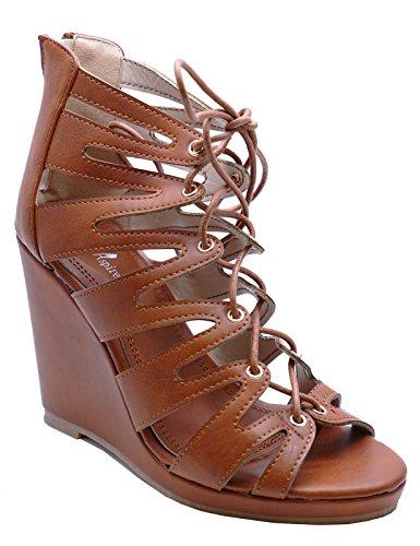 8 Gladiator Peeptoe Shoes Sandals Sizes Tan Wedge 3 Platform Lace up HeelzSoHigh Ladies w4gF14B