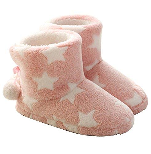 Minetom Damen Mädchen Plüsch Hüttenschuh Hausschuh Flauschig Bommel Weich und Warm Bequem Rutschfeste Wärmehausschuhe Pink