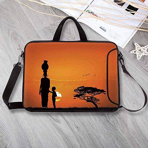- Afro Decor Lightweight Neoprene Laptop Bag,Child and Mother at Sunset Walking in Savannah Desert Dawn Kenya Nature Laptop Bag for Laptop Tablet PC,12.6