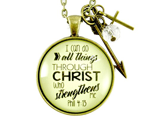 36 I Can Do All Things Bible Verse Faith Phil 4 13 Necklace 1.20 Hipster Vintage Style Bronze Circle Glass Pendant, Arrow Charm, Cross Charm