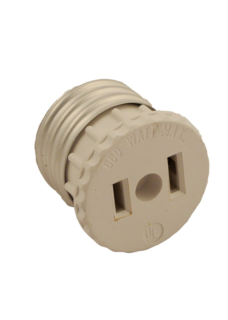 Leviton 125 15 Amp, 660 Watt, 125 Volt, 2-Pole, 2-Wire, Socket to Outlet Adapter, 1 Pack White