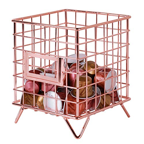 Simmer Stone Coffee Pod Holder, Wire Coffee Pod Storage Basket, Utility Pod Holder Organizer for Kitchen, Pantry, Office and Cafe, Size 6.3