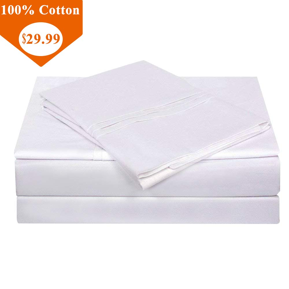 TEALP Bedding Sets Queen Cotton White Bed Sheets Pockets,Solid Bedding Set - 600 Thread Count - 4 Piece White-1