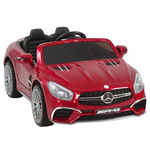 Uenjoy 12V Power Wheels Licensed Mercedes-Benz SL65 AMG Roadster Kids Ride-On Car Electric w/Remote Control 3 Speeds LED Lights & Spring Suspension & Safety Lock Painted Red (Licensed Car)