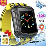 [Speedtalk SIM Included] Kids Smart Watch Phone GPS Tracker Watch for Girls Boys IP67 Waterproof Touch Screen Kids Wristwatch with Two-Way Call SOS Camera Anti-Lost Electronic Toy Birthday Gift