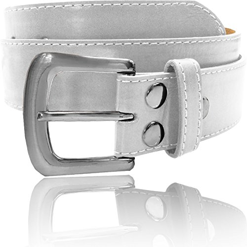 LUNA Top Quality Snap-On Stitch Buckle Thick Wide Leather Belt - White - Small