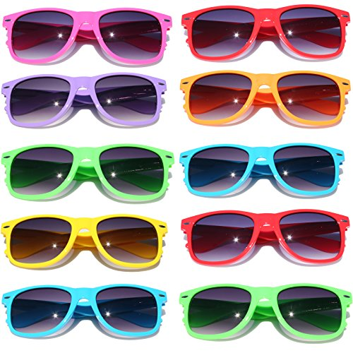 wayfarer-sunglasses-10-bulk-pack-lot-neon-color-80s-retro-classic-party-glasses
