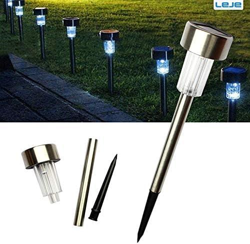 RGB, luz solar: 10 unidades/lote de luces solares de acero inoxidable para jardín drcorativo, 100% energía solar, lámpara solar para exteriores, lámpara luminaria de paisaje: Amazon.es: Iluminación