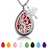 Teardrop Aromatherapy Essential Oil Diffuser Necklace Locket Pendant Hypo-Allergenic 316L Surgical Grade Stainless Steel With 23.6 Adjustable Snake Chain and 8 Reusable Washable Refill Pads (Flower)