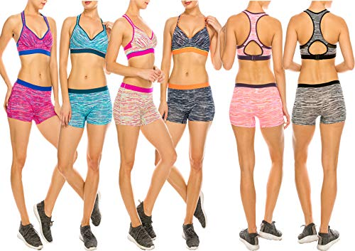 MoDDeals Woman's Regular and Plus Size Racerback Bra and Boy Short Activewear Set | Great for Working Out | Assorted Sporty Space Dye 6 Pk (36B - Medium Shorts)