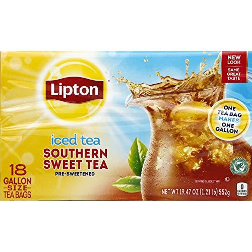 - Lipton Southern Sweet Tea, Gallon-Size Tea Bags, 18-Count