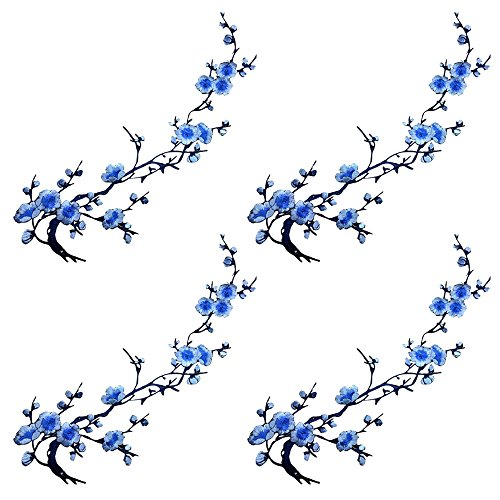 4pcs of Embroidery Cherry Blossom Sakura Polyester Flowers Iron on Patches Embroidery Applique Patches for Arts Crafts DIY Decor,Jeans,Sweater T Shirt(Blue Color,4pcs)