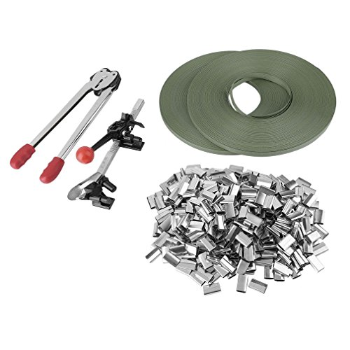Simoner Complete Strapping Tool Kit, Strapping Tensioner Packing Machinery with Metal Seal Poly Strap Banding Roll Supply Set