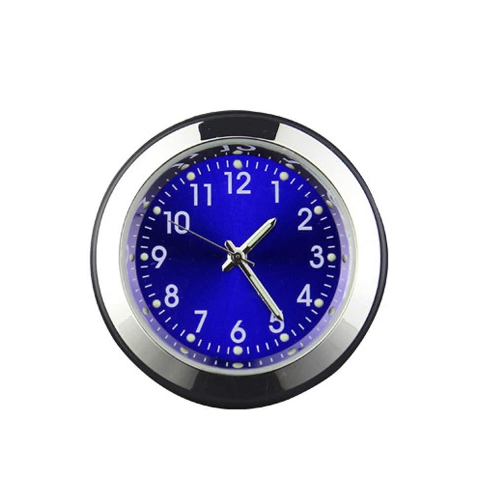 Auto Uhr Auto Vent Parfü m Uhr Auto Armaturenbrett Kleine Runde Analog Quarzuhr Stick-On Uhr Auto Ornamente Zubehö r (Blau) AOZBZ