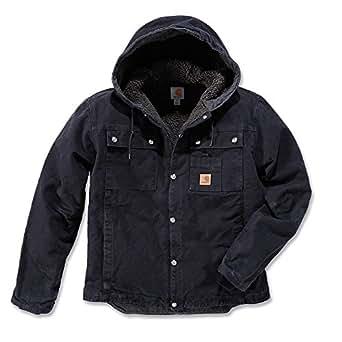 Carhartt Men's Sherpa Lined Sandstone Hooded Multi Pocket Jacket J284,Black,Small