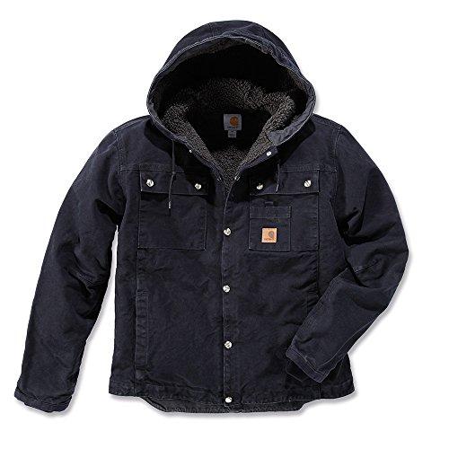Carhartt Men's Sherpa Lined Sandstone Hooded Multi Pocket Jacket J284,Black,X-Large