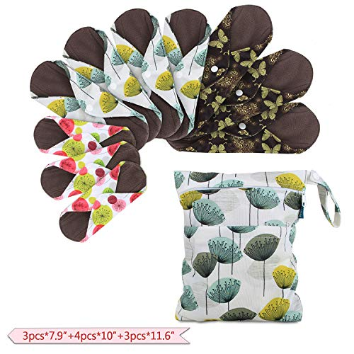 "Teamoy 10pcs Cloth Panty Liners, Reusable Sanitary Pads with Wet Bag, Washable Cloth Menstrual Pads with Charcoal Absorbency Layers (Country Style, 3pcs×7.9""+4pcs×10""+3pcs×11.6"")"