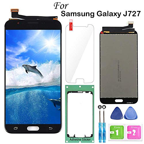 for Samsung Galaxy J7 2017 Screen Replacement Black,LCD Display Touch Screen Digitizer Assembly for J7 Prime 2017 J727 J727U SM-J727T1 J727R4 J727V J727P Sky Pro J7 2017 Perx 5.5,with Tools,Tape