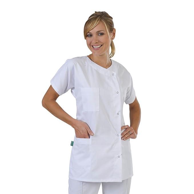 Label Blouse Julia - Bata Médica para Mujer, Cerradura de Botones a Presión, Color Blanco: Amazon.es: Ropa y accesorios