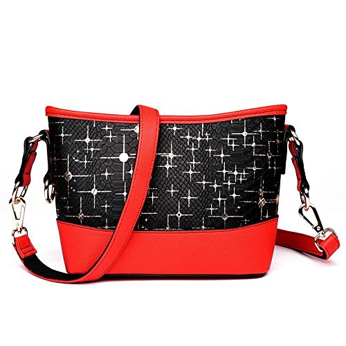 Moda Red Bandolera 22cmx9cmx18cm Messenger Serpiente Tamaño Pu Dama Solo Relieve Penao f1Bq5wA