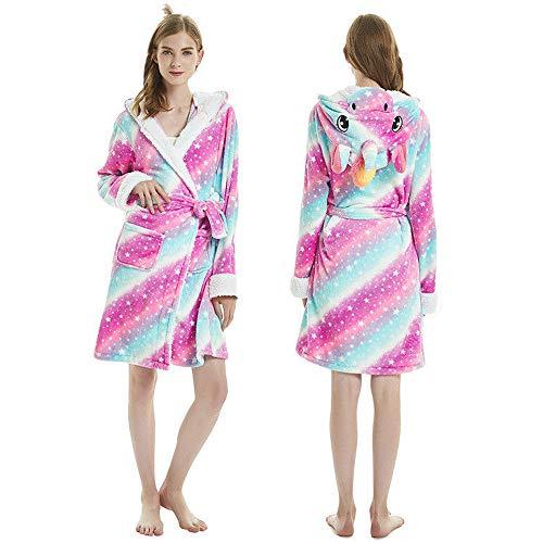 Etitek Luxury Ladies 3D Animal Unicorn Bathrobe Soft Short Hooded Flannel Fleece Plush Bath Robe Pajamas Dressing Gown Girls Women Men (Star Unicorn, L fit Height 170-180cm (65-69inch))