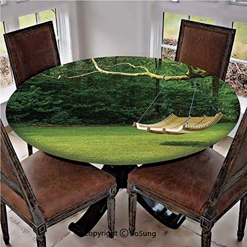 Elastic Edged Polyester Fitted Table Cover,Curved Swing Bench Hanging From the Bough of Tree in Lush Garden Woodland Backdrop,Fits Tables up to 36