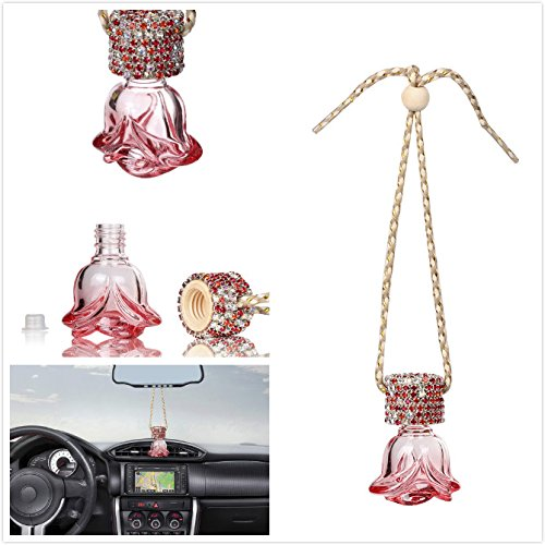 Mini-Factory Auto Car Ornament Mirror Hanging Bling Decoration Crystal Rose Refillable Glass Air Freshener Empty Bottle for Car / Home / Office (Bottle only, Perfume NOT included) (Red) (Bling Air Freshener For Car compare prices)