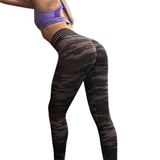 cd3ca25184 Camouflage Yoga Pants, Women's Workout Leggings Fitness Sports Gym Running  Athletic Pants by E-