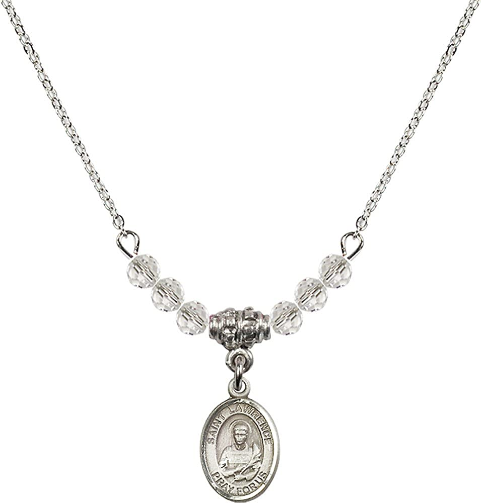 18-Inch Rhodium Plated Necklace with 4mm Crystal Birthstone Beads and Sterling Silver Saint Lawrence Charm.