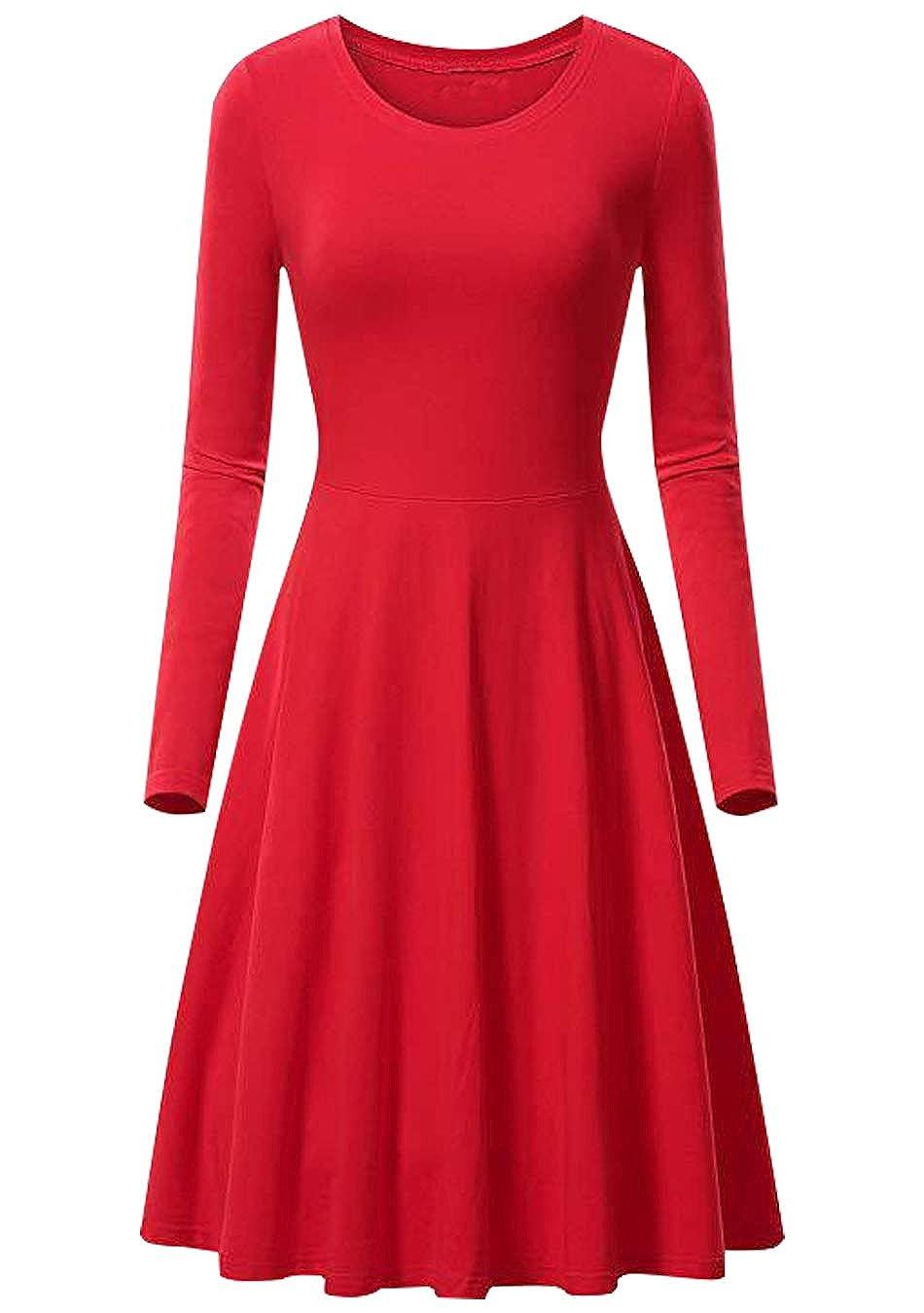 EFOFEI Womens Swing Round Neck Long Sleeve Midi A Line Solid Casual Elegant Slim Dress