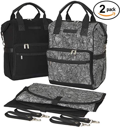 Baby Diaper Bag Backpacks Matching Set with Waterproof Changing Mats, Stroller Straps, and 15 Compartments Each| Bag for Mom and Dad-Pack of 2 |