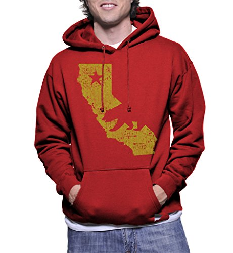 Haase Unlimited Men's Golden California State Map Hoodie XL Royal - Map Anaheim California Disneyland