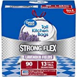 Strong Flex Tall Kitchen Drawstring Trash Bags, Lavender Fields, 13 Gallon, 90 Count Improved Strong Flex Material Provides Improved Puncture Protection,Pack of 2