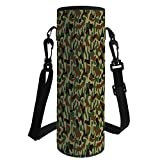 iPrint Water Bottle Sleeve Neoprene Bottle Cover,Camouflage,Military Squad Unit Uniform Design with Vivid Color Scheme Hunting Camo,Green Brown Khaki,Fit for Most of Water Bottles