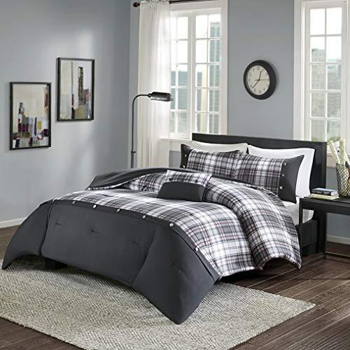 Kaputar Beautiful Modern Classic Black Grey RED Plaid Cozy Stripe Comforter Set | Model CMFRTRSTS - 1385 | Twin