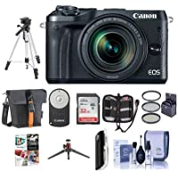 Canon EOS M6 Mirrorless Digital Camera Black with EF-M 18-150mm f/3.5-6.3 IS STM Lens Bundle with Holster Case, 32GB SDHC Card, Tripod, Remote Controller, 55mm Filter Kit, Software Package And More