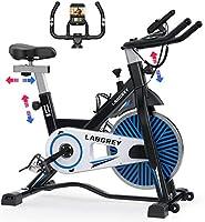 LABGREY エアロバイク フィットネスバイク 16KGホイール 摩擦式 無段階負荷調節 静音 心拍数測定 スピンバイク サドル ハンドル調節可能 移動キャスター付き 有酸素運動 本格トレーニング ダイエット器具 日本語説明書付き