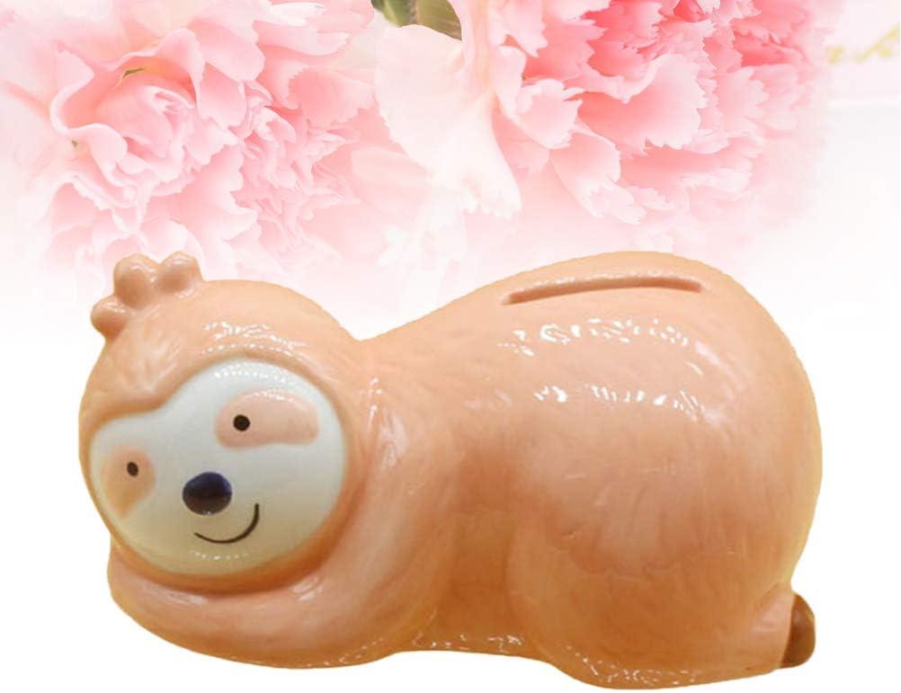 VOSAREA Cute Sloth Design Saving Pot Cartoon Coin Bank Ceramic Money Pot Small Change Container Adorable Birthday Gift for Home Shop Kids