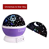 Baby Night Light Lamps, Romantic 360 Degree Rotating Santa Claus with Christmas Gift Cover & Star with Sky Moon Cover Projector Lights Color Changing LED For Children Kids Girls Baby Nursery Gift (Purple)