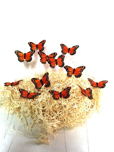 ch Butterflies on Wire Stems. Packs of 12- Size-3inch ()