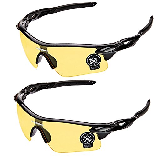 Sports Sunglasses Glare UV400 Protection Polarized HD Night Vision for Motorcycle Riding Glasses (2 PACK) (yellow2)